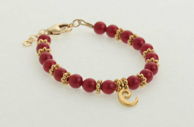 Red Coral Pearls with 14kt Gold Filled Script Initial Bracelet