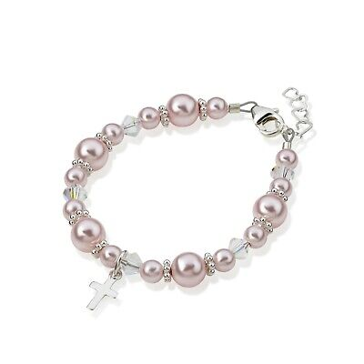 Swarovski Pink Pearls and Crystals with Sterling Silver Cross Charm Bracelet