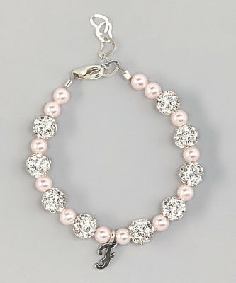 Swarovski Pearls and  Crystals with Personalized Sterling Silver Script Bracelet