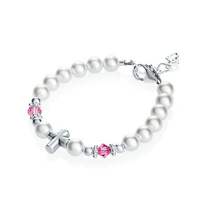 Baby Beaded Bracelet with Swarovski White Pearls and Pink Crystals with Sterling