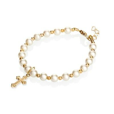 Baby Bracelet with Swarovski Cream Pearls with 14kt Gold Filled Beads and Cross