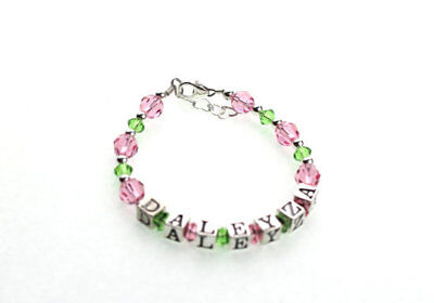 Pink and Green Crystal with Sterling Silver Beads Personalized Name Bracelet