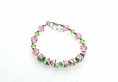 Pink and Green Crystal with Sterling Silver Mini Beads Personalized Name Bracele