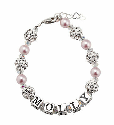 Personalized Name Bracelet with Swarovski Pink Pearls and Clear Crystals