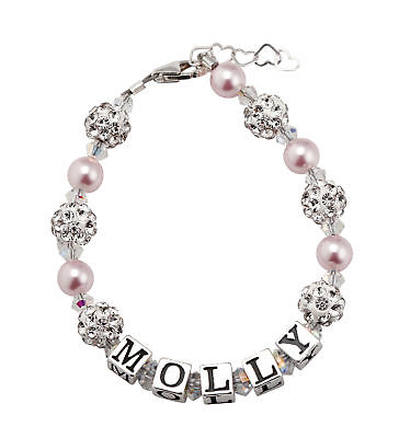 Swarovski Pink Pearls and Clear Crystals Personalized Name Bracelet