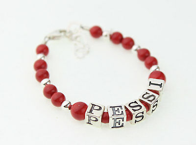Red Pearls and Sterling Silver Mini Beads Personalized Name Bracelet
