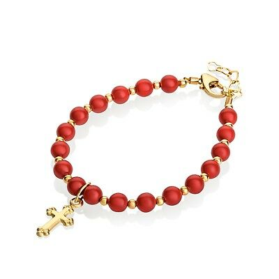 Red Coral Swarovski Pearls with 14KT Gold Filled Mini Beads and Cross Charm Brac