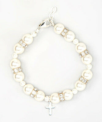 Baby Bracelet with White Swarovski Pearls Rondelle with Cross Charm