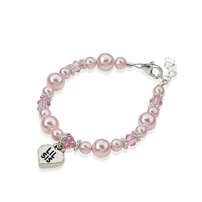 Baby Bracelet with Silver LIL SIS Heart Charm and Swarovski Pink Pearls and Pink