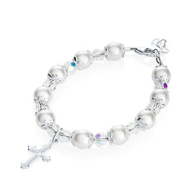 Cross Baby Bracelet with White Swarovski Pearls & Crystals