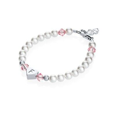 Baby and Child Bracelet Personalized Heart Initial with Swarovski White Pearls