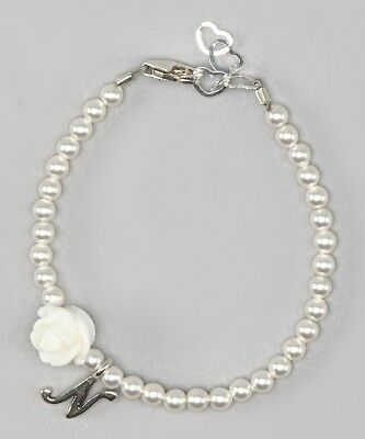 Personalized Initial Bracelet with Swarovski Pearls and Flowers