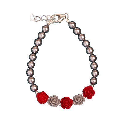 Grey & Red Flowers and Pearl Bracelet