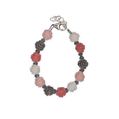 Pink, White and Grey Mini Flower Beads Bracelet with Clear Swarovski Crystals