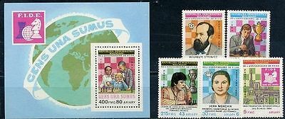 Malagasy, Chess players, 1984, 5 stamps + s/s  block