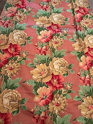 VINTAGE 1940s Shabby Chic Roses Flowers Drapes Curtains #2