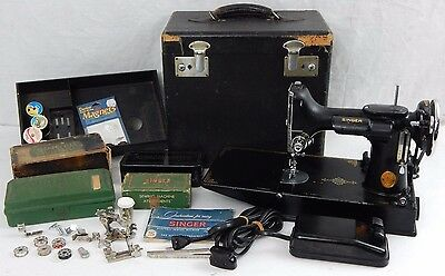 1940 Singer Feather Weight Portable Sewing Machine # 221 w Case & Attachments