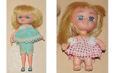 """Lot Of 2 Vintage 1965 Hasbro Dolly Darling Toy Doll 4.5 """" & 3 """" Tall Dolls"""