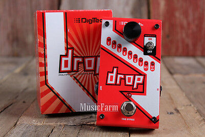 Digitech DROP Polyphonic Drop Tune Electric Guitar Effects Pedal w Power Supply