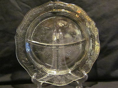 Federal Glass Patrician Spoke Crystal Grill Plates (4)