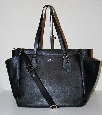 NWT COACH Leather Baby Diaper Multifunction Bag F57786 BLACK $495