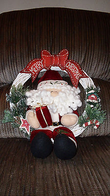 """Merry Christmas Santa 13"""" Dried White Wooden Twine Christmas Wreath Holiday"""