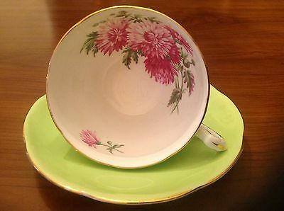 Adderley Floral Green cup and saucer Staffordshire England