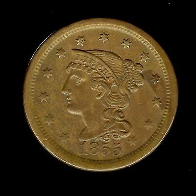 1855 Braided Hair Large Cent Choice Uncirculated @@ Outstanding  @@
