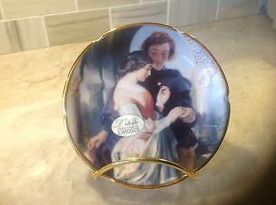 Limoges miniature plate Lovers decorative porcelain with stand