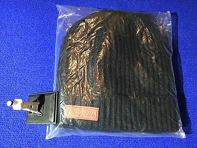 Snap On HEAVY DUTY Woollen Beanie Hat Black with Red Leather Logo ideal gift NEW