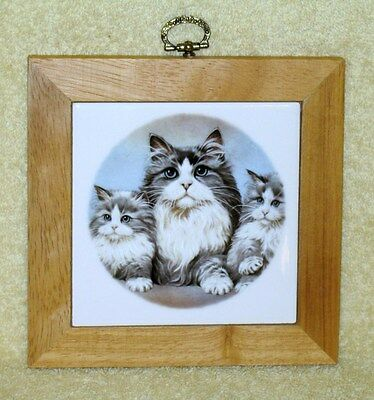 Mother LH Cat & Kittens Trivet or Wall Plaque Tile w/Fired Decal 5 3/4 Inch