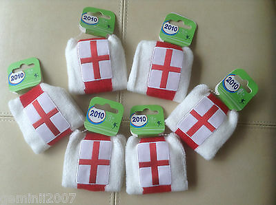 ENGLAND FLAG Wristbands - Pack of 2 - White & Red - Sport Football Tennis - BNWT