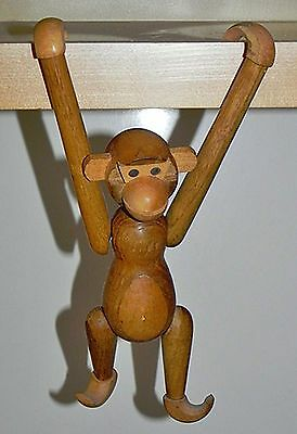 "Vintage Mid Century Wooden Jointed Hanging Monkey 7-1/2"" Tall Mixed Woods Japan"