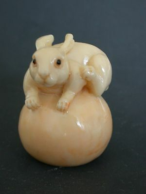 Japanese ivory colored bone netsuke - DeLuxe RABBIT on Round Fruit(Pumpkin?)