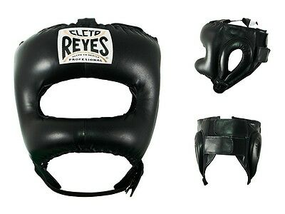 Cleto Reyes Traditional Leather Headgear with Nylon Face Bar (Black)