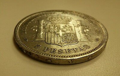 Spain 5 Pesetas, 1871, Amadeo 1st SD-M like 8 Reales Silver