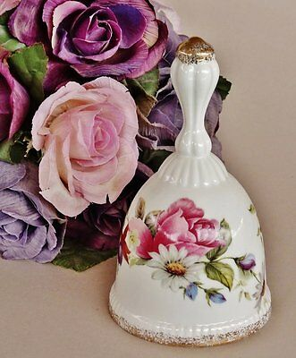 Fine Bone China - Hand Bell *WEBB EXCLUSIVE - TAIWAN 'Summer Rose* Exc Cond