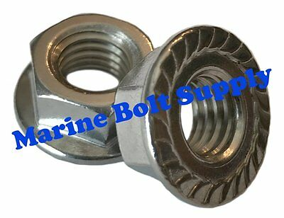 """Type 18-8 Stainless Steel Serrated Flange Nuts (Sizes 6-32 to 1/2"""")"""