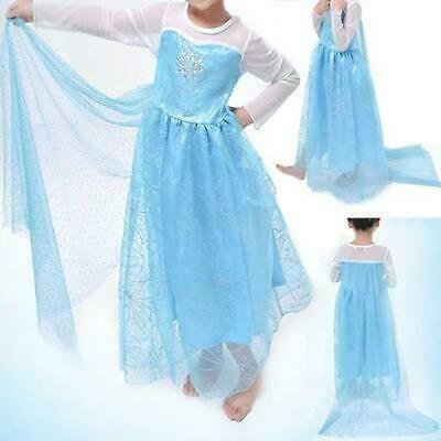 Froze Elsa Princess Costume Cosplay Tulle Kids Party Fancy Dress Size 3-10 Yrs