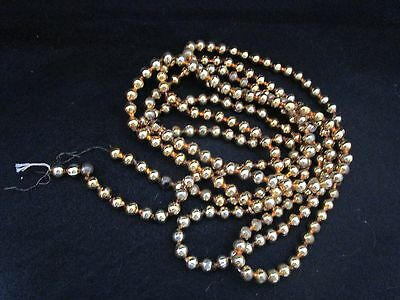 "Vintage Gold Ball Bead Mercury Glass Garland 10 Feet One Strand About 3/8"" Round"