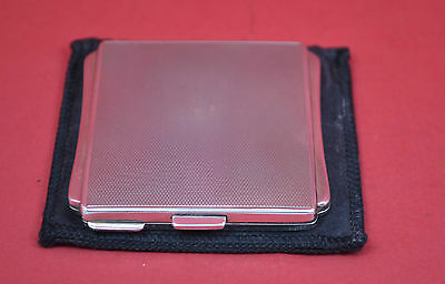 superb Ladies Art Deco sterling silver compact engine turned 1954 T&S with case