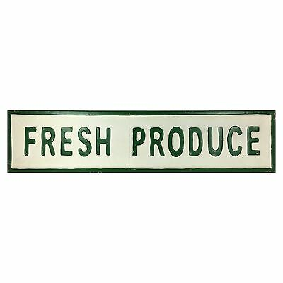 FRESH PRODUCE Vintage Country Farm Embossed Tin Sign 45-in Restaurant Kitchen