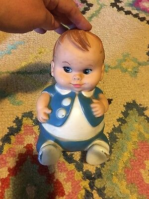 """Vintage 1967 Uneeda Doll Co. Plum Pees Boy Rubber Doll 8"""""""