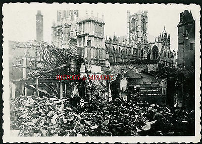 Photo Ww2 1940 France Beauvais/abbeville Ruines Destructions Cathédrale Église