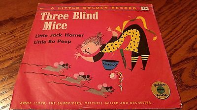 Three Blind Mice Record, 6 inch, 45 RPM, Yellow, Very Good Condition, Very Rare