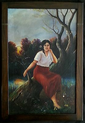 """Antique Italian oil painting """"Portrait of Young Lady"""" 18th century"""