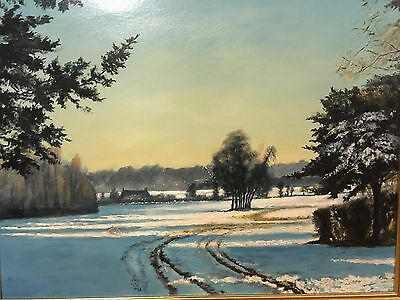 Large Oil Painting of a Bright Winter Scene on a Board - Framed