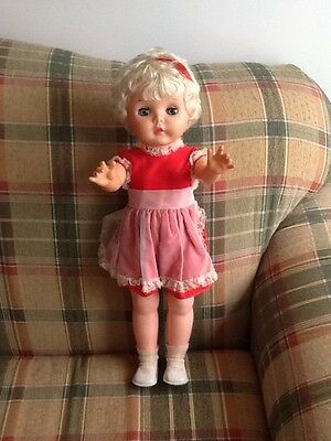 "BIG Vintage marked U44 Platinum Blonde Hair Character Girl Doll 22"" Tall"