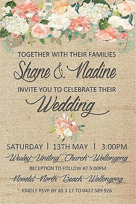 Engagement Wedding Vintage Rustic Invite Invitation Party Event Floral Flowers
