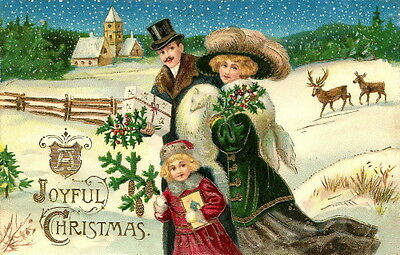 Vintage Christmas~Well Dressed Family~Snowy Night~Deer~Furs~NEW Greeting Cards